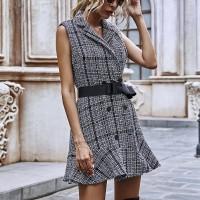 Suit Neck Waist Button Closure Mini Dress - Gray