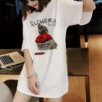 Printed Girls Short Sleeves T-Shirt - White