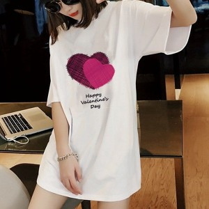 Round Neck Printed Hearts Short Sleeves T-Shirt - White