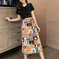 Graphical Printed Round Neck Short Sleeves Midi Dress