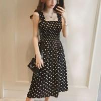 Square Neck Polka Dots Printed Midi Dress - Black