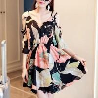 Cold Shoulder Floral Printed A-Line Mini Dress