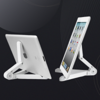 Multi Functional Triangular Folding Mobile Tablet Ipad Stand - White