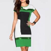 Geometric Contrast Short Sleeves Mini Dress - Green