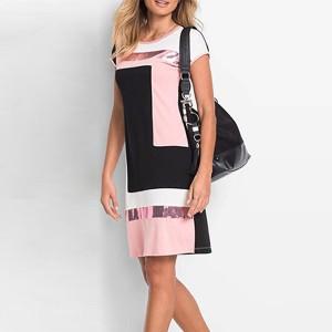 Geometric Contrast Short Sleeves Mini Dress - Pink