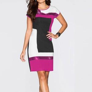Geometric Contrast Short Sleeves Mini Dress - Hot Pink