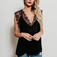 Lace V Neck Solid Color Floral Top - Black