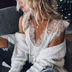 Lace Textured Fake Two Piece Blouse Top - White