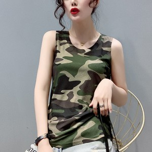 Camouflage Round Neck Sleeveless Blouse Top - Green