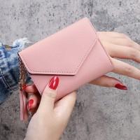 Tassel Pendant Zipper Closure Handheld Wallet Card Holder