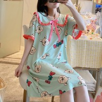 Doll Neck Cartoon Printed Mini Dress - Green