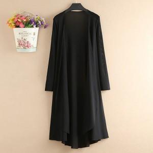 Chiffon Full Sleeves Thin Fabric Outwear Long Cardigan - Black