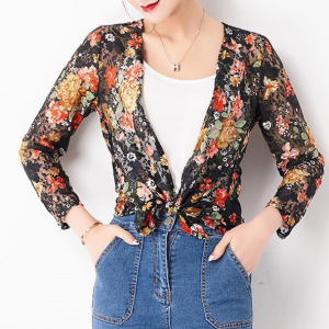 Floral Printed Knotted Quarter Sleeves Outwear Cardigan - Black