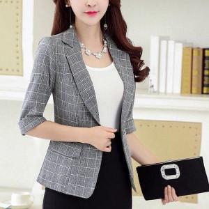 Geometric Printed Suit Neck Half Sleeves Coat - Gray
