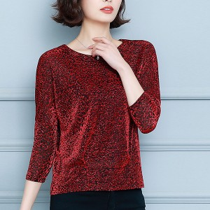 Glitter Pattern Round Neck Quarter Sleeves Blouse Top - Red