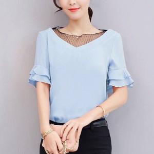 Ruffled Thin Fabric V Neck Flared Sleeve Blouse Top - Blue