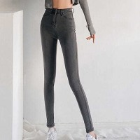 Body Fitted Narrow Bottom Button Closure Pants - Gray