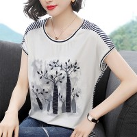 Loose Round Neck Printed Trees Blouse Top - White