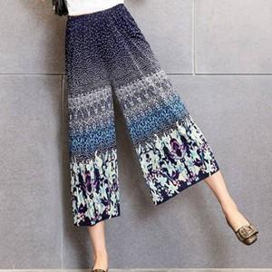 Bohemian Printed Elastic Waist Women Fashion Trouser - Blue