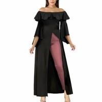 Off Shoulder Cut Out Split Hem Maxi Dress - Black
