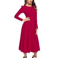 Waist Strapped Full Sleeves Midi Dress - Wine Red