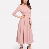 Waist Strapped Full Sleeves Midi Dress - Pink
