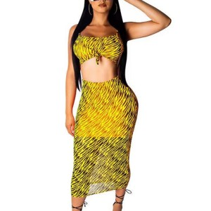 Printed Beach Wear Chiffon Graphical Printed Two Pieces Suit - Yellow