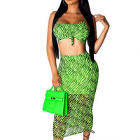 Printed Beach Wear Chiffon Graphical Printed Two Pieces Suit - Green