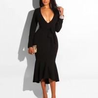 Flared Hem Body Fitted V Neck Sexy Wear Dress - Black
