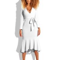 Flared Hem Body Fitted V Neck Sexy Wear Dress - White