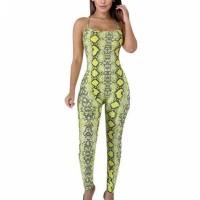 Snake Skin Printed Bodyfitted Full Length Romper Dress - Yellow
