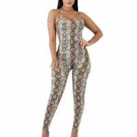 Snake Skin Printed Bodyfitted Full Length Romper Dress - Coffee