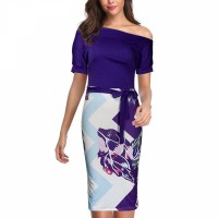 Floral Printed Body Fitted Short Sleeves Midi Dress - Purple