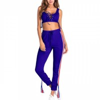 Sports Wear Sexy Drawstring Body Fitted Two Pieces Set - Blue