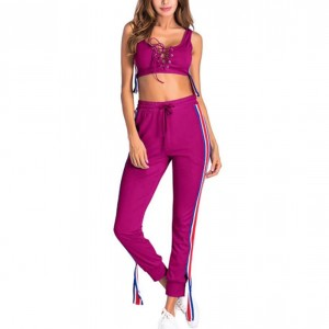 Sports Wear Sexy Drawstring Body Fitted Two Pieces Set - Rose Pink