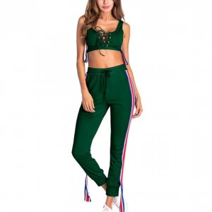 Sports Wear Sexy Drawstring Body Fitted Two Pieces Set - Green
