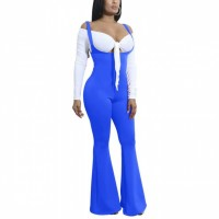 Full Sleeves Sexy Wear Knotted Full Sleeves Dress - Blue