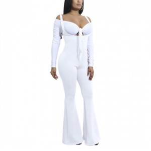 Full Sleeves Sexy Wear Knotted Full Sleeves Dress - White