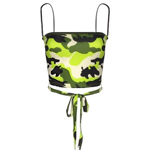 Camouflage Bandeau Style Fitted Top - Green