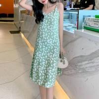 Floral Printed Spaghetti Strapped Mini Dress - Green