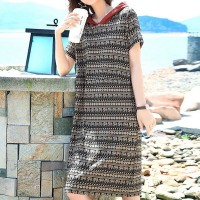 Hoodie Graphical Printed Short Sleeves Mini Dress - Black
