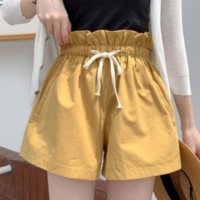 Elastic Waist String Closure Bottom Pant Shorts - Yellow