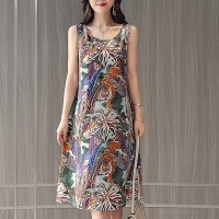 Printed Women Fashion Midi Dress - Multicolor
