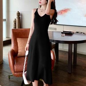 Strap Shoulder V Neck Sleeveless Party Midi Dress - Black
