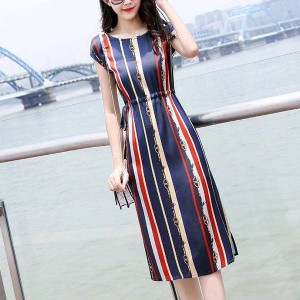Cap Sleeved Stripes Printed Waist Strap Midi Dress - Blue