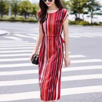 Cap Sleeved Stripes Printed Waist Strap Midi Dress - Red