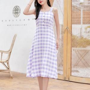 Strap Shoulder Geometric Printed A-Line Dress - Purple