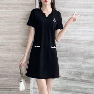 Notched Neck Short Sleeved Mini Dress - Black