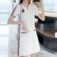 Notched Neck Short Sleeved Mini Dress - White