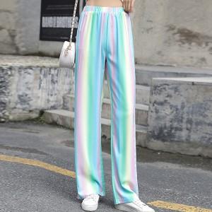 Elastic Waist Straight Bottom Women Fashion Trouser - Multicolors